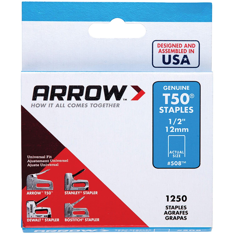 Arrow 1/2-Inch T50 Heavy Duty Staples, 1250 Count