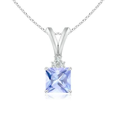 - Valentine Jewelry Gift - V-Bale Square Tanzanite Solitaire Pendant with Diamond in 14K White Gold (5mm Tanzanite) - SP0153T-WG-A-5