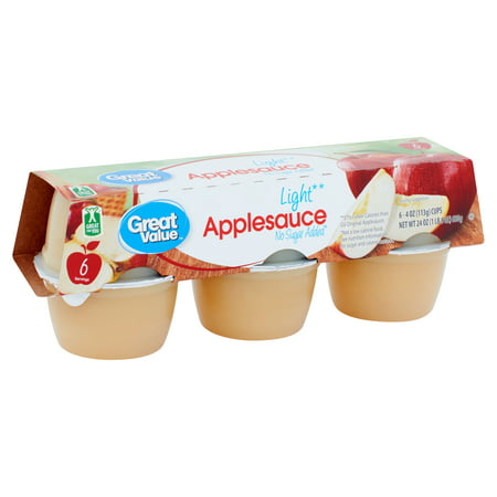 Great Value Light Applesauce, 4 oz, 6 count