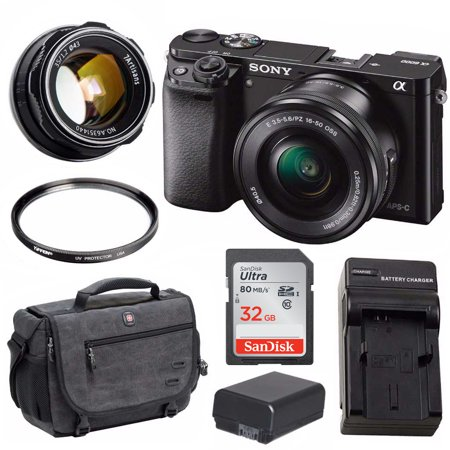 Sony Alpha a6000 24.3MP Mirrorless Camera (Body/Black) with 7artisans Bundle