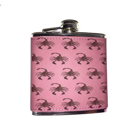 Pattern Flask - KuzmarK Pink Leather Flask - Scorpion Guns Pattern Art