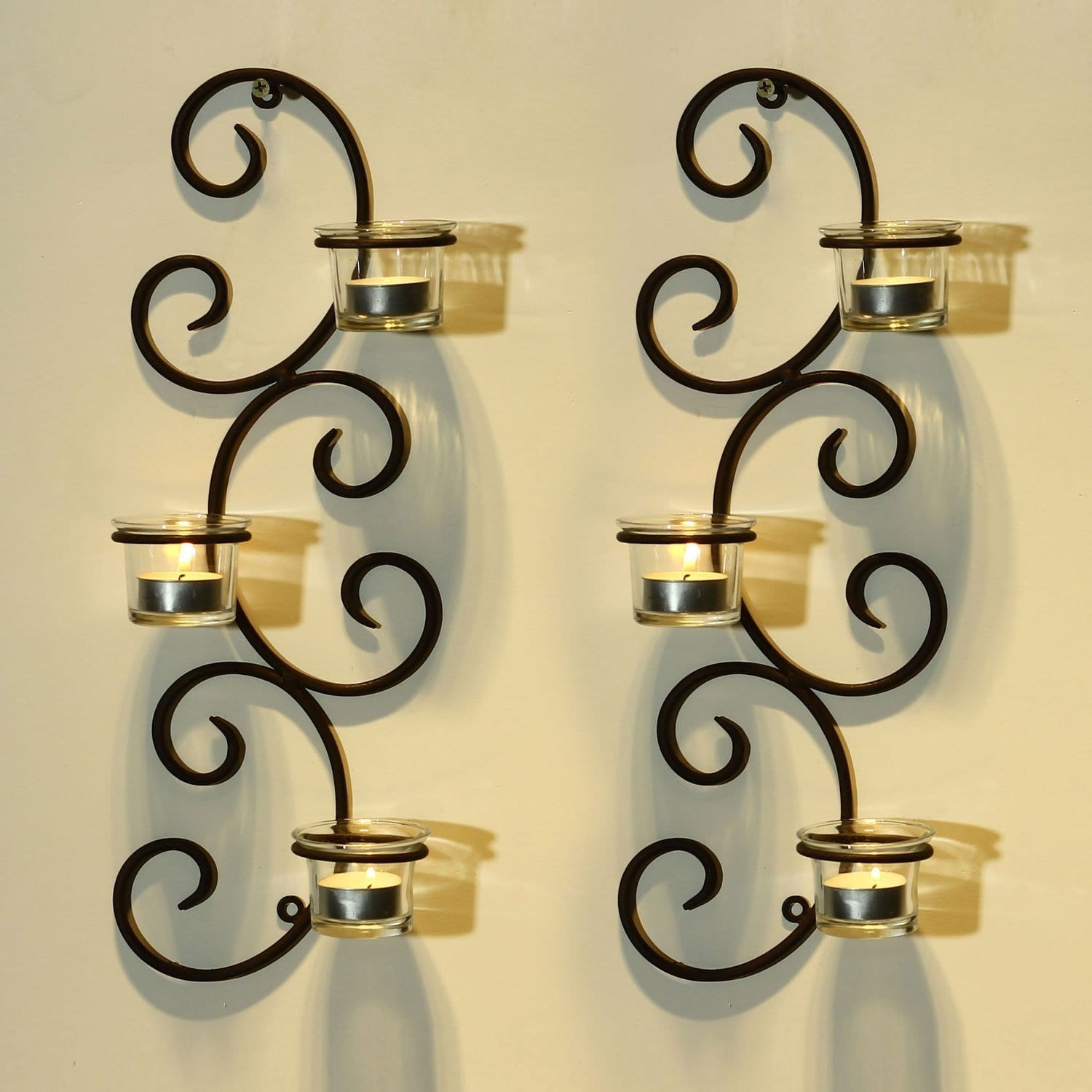 Adeco Brown Iron Vertical Wall Hanging Accents Candle Holder Sconce (Set of 2) by Overstock