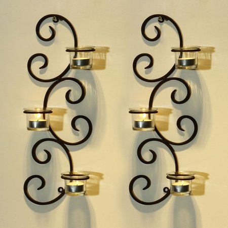 Adeco  Brown Iron Vertical Wall Hanging Accents Candle Holder Sconce (Set of 2) ()