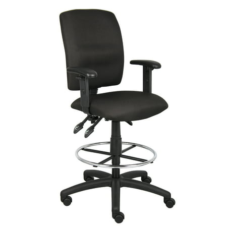 Boss Office & Home Black Multi-Function Drafting Stool with Adjustable Arms