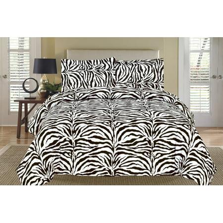 Zebra Black and White Down Alternative Comforter Set Twin (Zebra Bedroom Set Twin)