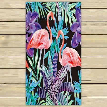 - PHFZK Watercolor Towel, Tropical Beach Flamingo Bird and Exotic Plants Hand Towel Bath Bathroom Shower Towels Beach Towel 30x56 inches