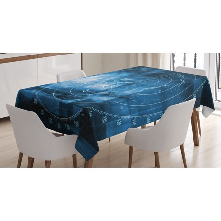 Navy Blue Decor Tablecloth  Modern Ship With Radar Exposure In Screen Digital Electronic Futuristic Concept  Rectangular Table Cover For Dining Room Kitchen  52 X 70 Inches  Blue  By Ambesonne
