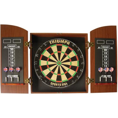 MDF Cabinet Round Top Dartboard, Mahogany by Triumph Sports USA
