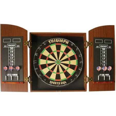 MDF Cabinet Round Top Dartboard, Mahogany