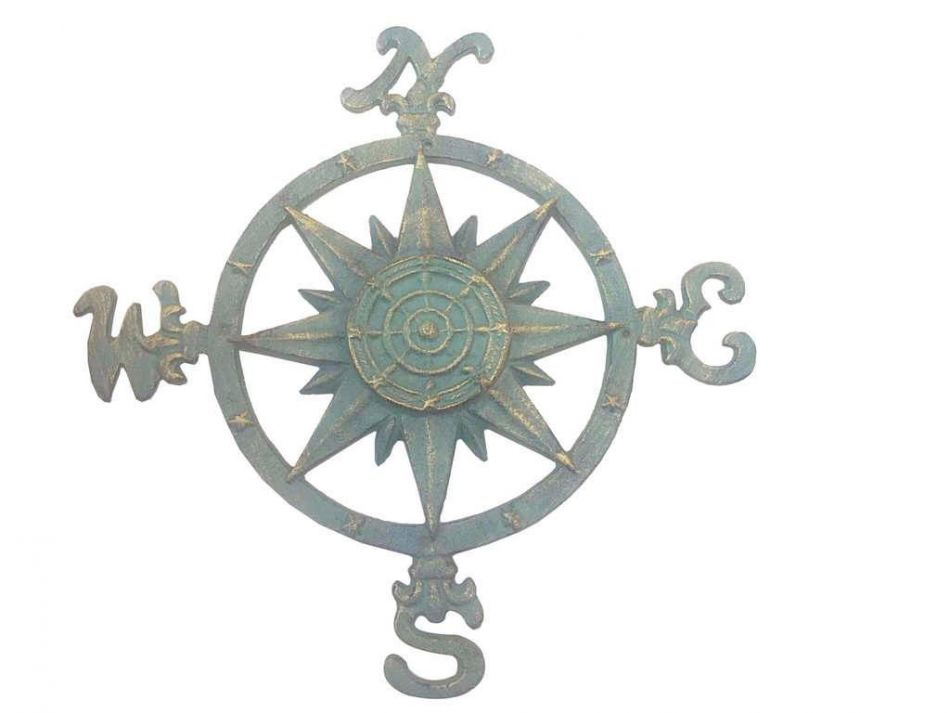 "Seaworn Bronze Cast Iron Large Compass 19"" Marine Compass Nautical Home Decor by Handcrafted Nautical Decor"