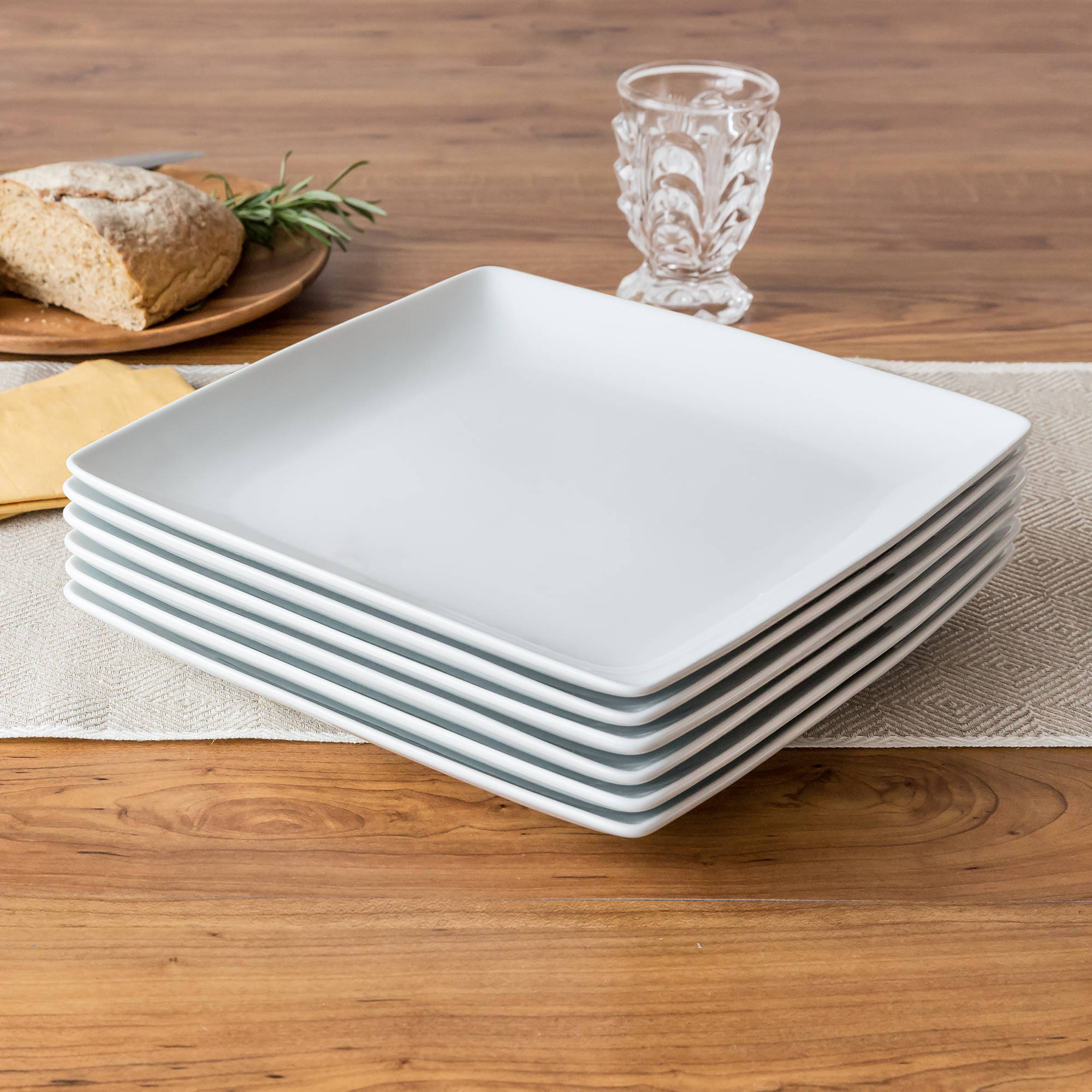 Better Homes and Gardens Coupe Square Dinner Plates, White, Set of 6