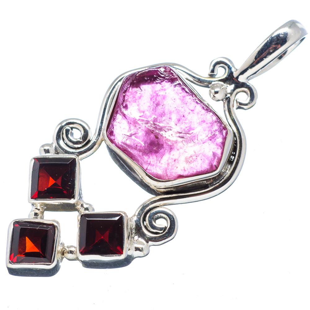 "Ana Silver Co Rough Pink Quartz, Garnet 925 Sterling Silver Pendant 1 3/4"" PD521878"