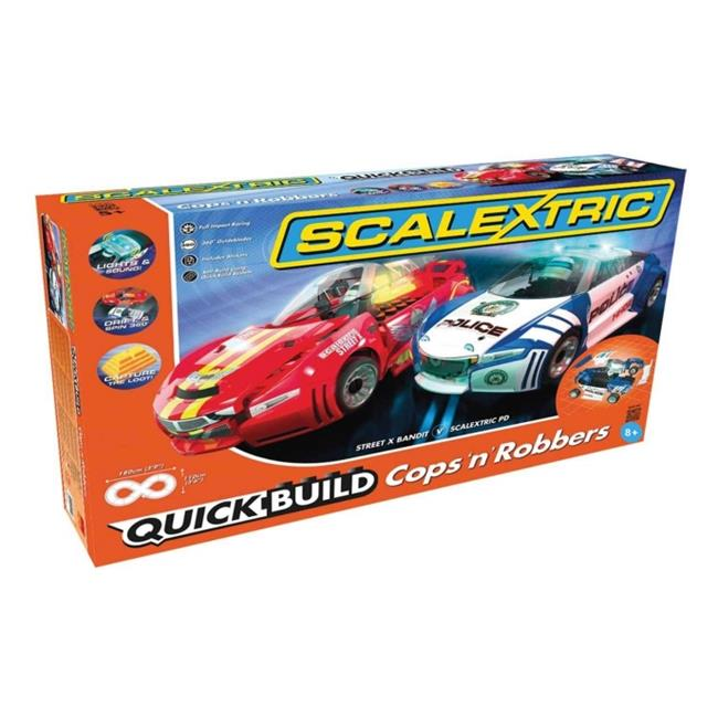Scalextric C1323T Quickbuild Cops N Robbers 1-32 Slot Car Race Set, Age 8 Plus