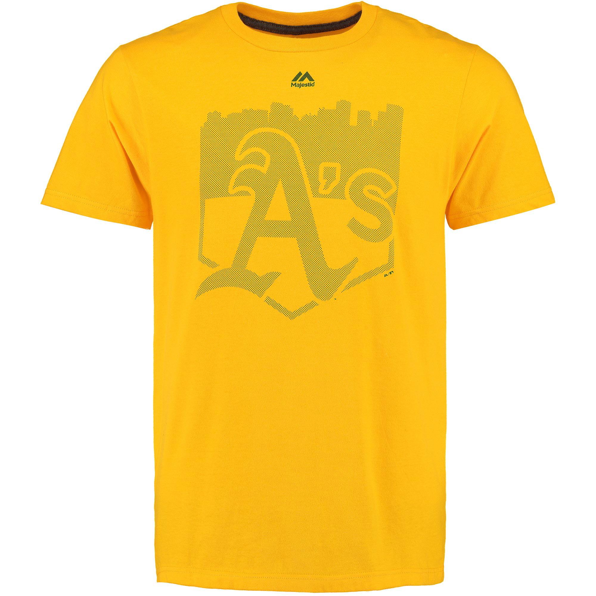 Oakland Athletics Majestic Pass Through T-Shirt - Yellow
