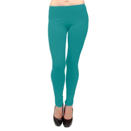 Neon Green Leggings (Vivian's Fashions Long Leggings - Cotton, Misses Size (Teal,)