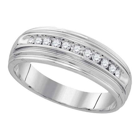 Size 10 - 925 Sterling Silver Mens Round Diamond Band Wedding Anniversary Ring (1/4 Cttw)