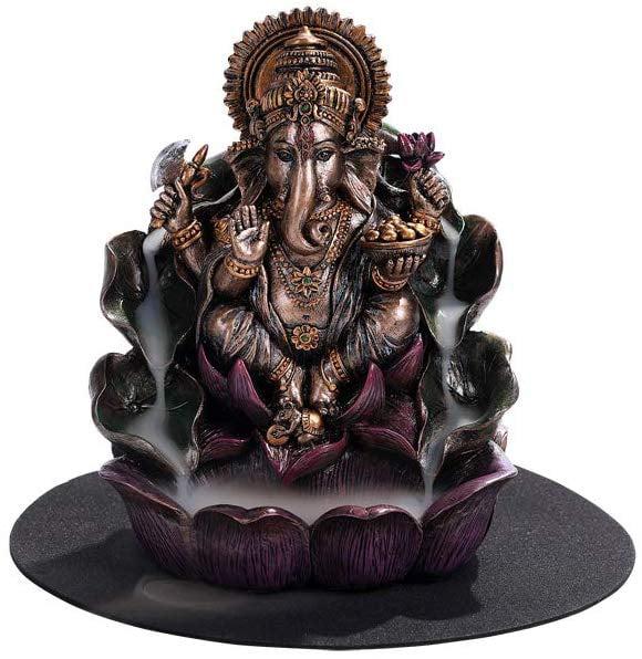 Pacific Giftware Meditation Auspicious Lotus Shape Porcelain Stick or Cone Lidded Incense Burner Holder Infuser Pacific Trading