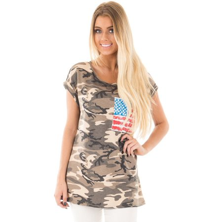 Camouflage Print T-shirt (Short Sleeved Camouflage Print Women Casual T-shirt )