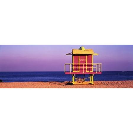 Lifeguard Hut Miami Beach Florida USA Canvas Art - Panoramic Images (18 x 6) - Gay Halloween Miami Beach