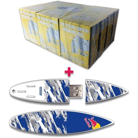 Red Bull 24 Pack 8 4 Ounce Yellow Edition Energy Drink And 16Gb Blue Camo Usb Surfdrive