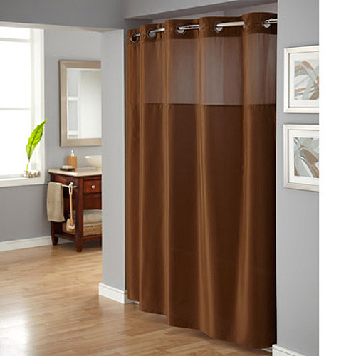 Hookless Brown Polyester Shower Curtain