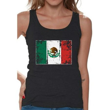 Awkward Styles Mexico Flag Tank Top for Women Mexican Tanks Mexican Women Gifts from Mexico Flag of Mexico Mexico Sleeveless Shirt Mexican Tshirt Mexican Flag Gift Mexico Tank Top Mexico (Sleeveless Soccer Uniform)