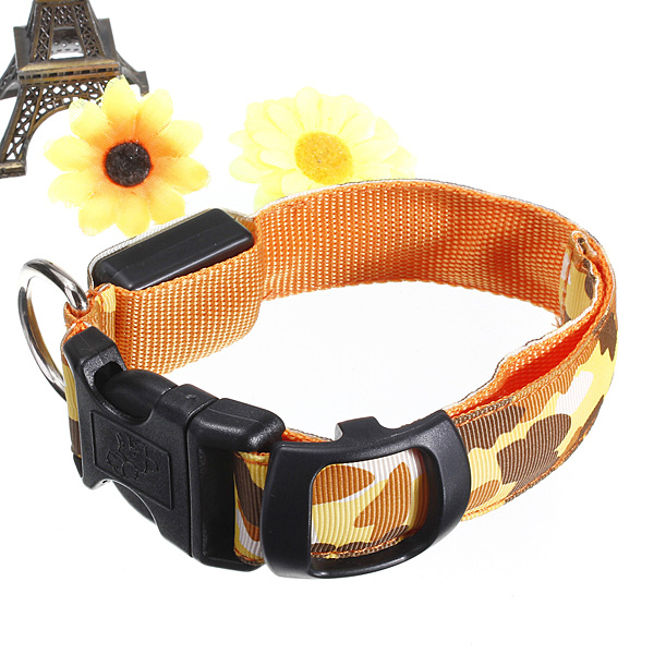 M Size Pet Dog Nylon Safety Collar Adjustable Leash Harness LED Light up Luminous Puppy Necklace Dog Accessories