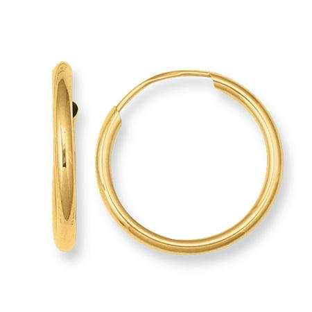 Children's 14k Real Gold Endless Small Hoop Hoops Earrings ()