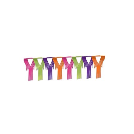 Club Pack of 12 Bright Neon Colored Drop Fringe Tissue Streamer Garland Party Decorations 12'