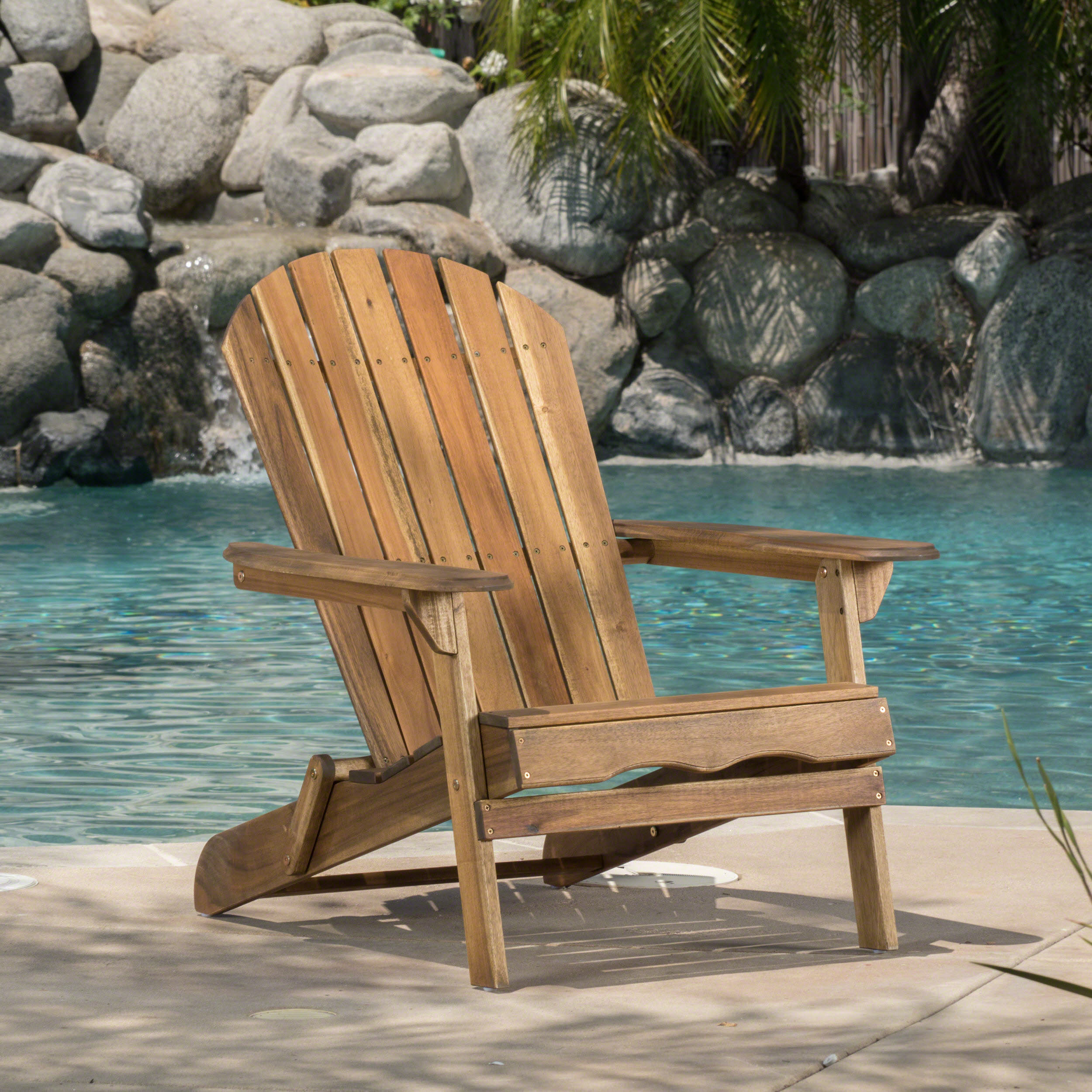 Morgan Folding Wood Adirondack Chair Natural Stained Walmart Com