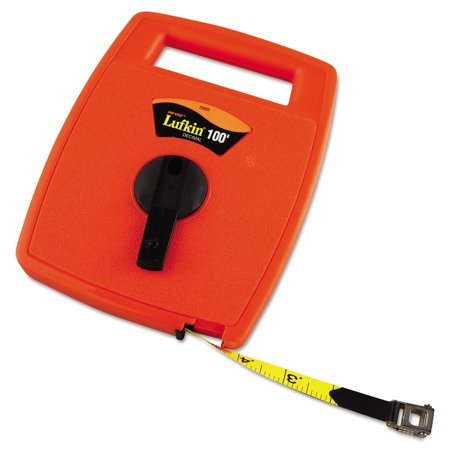 Lufkin Hi-Viz Linear Measuring Tape Measure, 1/2in x 100ft, Orange, Fiberglass Tape
