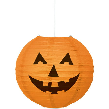 Round Pumpkin Halloween Paper Lantern, 10 in, Orange, 1ct](Metal Halloween Pumpkin Lantern)