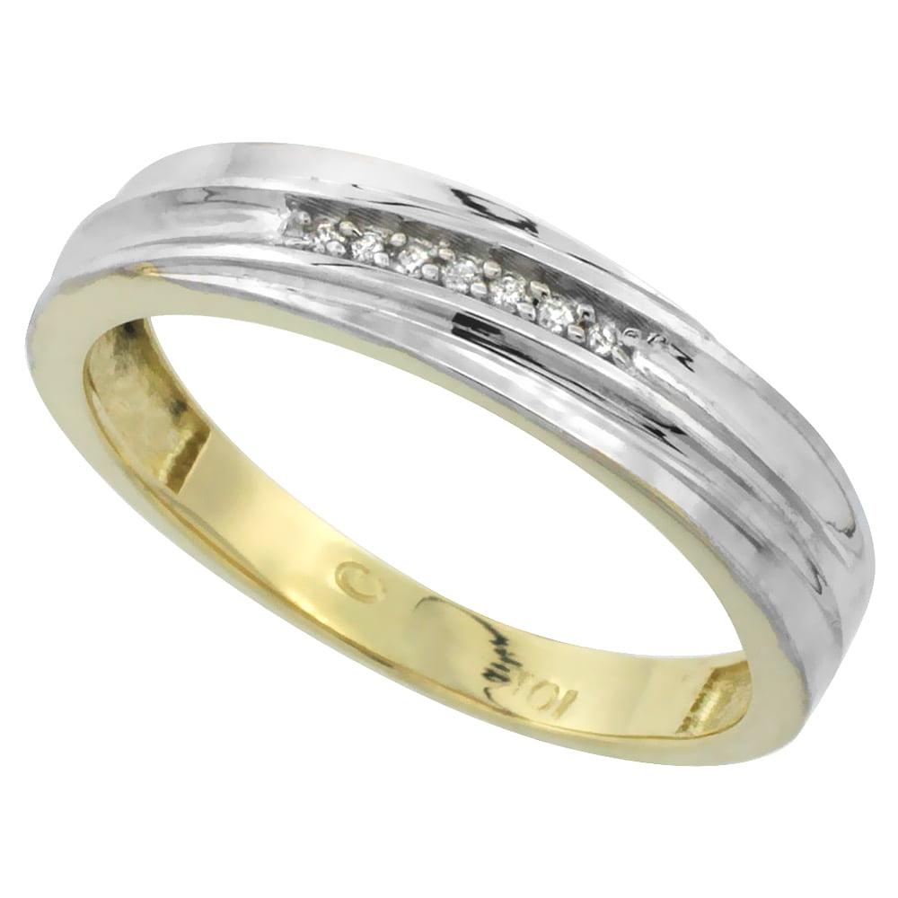 3//16 inch 5mm wide 10k Yellow Gold Mens Diamond Wedding Band Ring 0.04 cttw Brilliant Cut