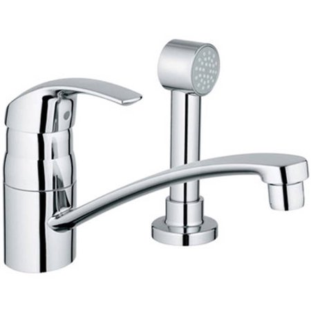 Grohe 31134001 Eurosmart Single Lever Sink Mixer with Side Spray, Chrome Grohe 31134001 Eurosmart Single Lever Sink Mixer with Side Spray, Chrome: Kitchen Centerset with Side SprayGROHE SilkMove4 1 D 4  Aerator height8 15D 16  Faucet reach7 13D 16  Faucet height (lever in open position)Solid brass bodyLever handleStainless steel flex lines14 Swivel radius