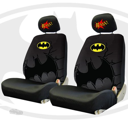 New Batman Car Front Seat Covers And Classic Comic Book BAM Headrest Set
