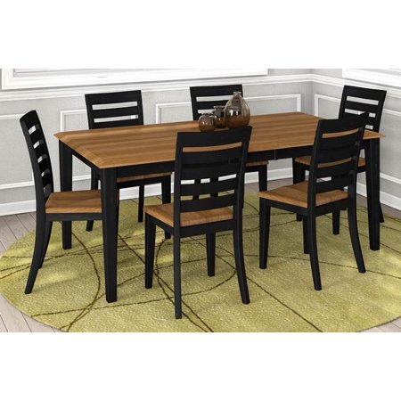 7 Pc Rectangular Dining Table and Chair Set with Table