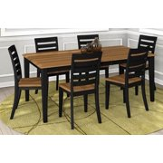 7-Pc Rectangular Dining Table and Chair Set with Table Leaf