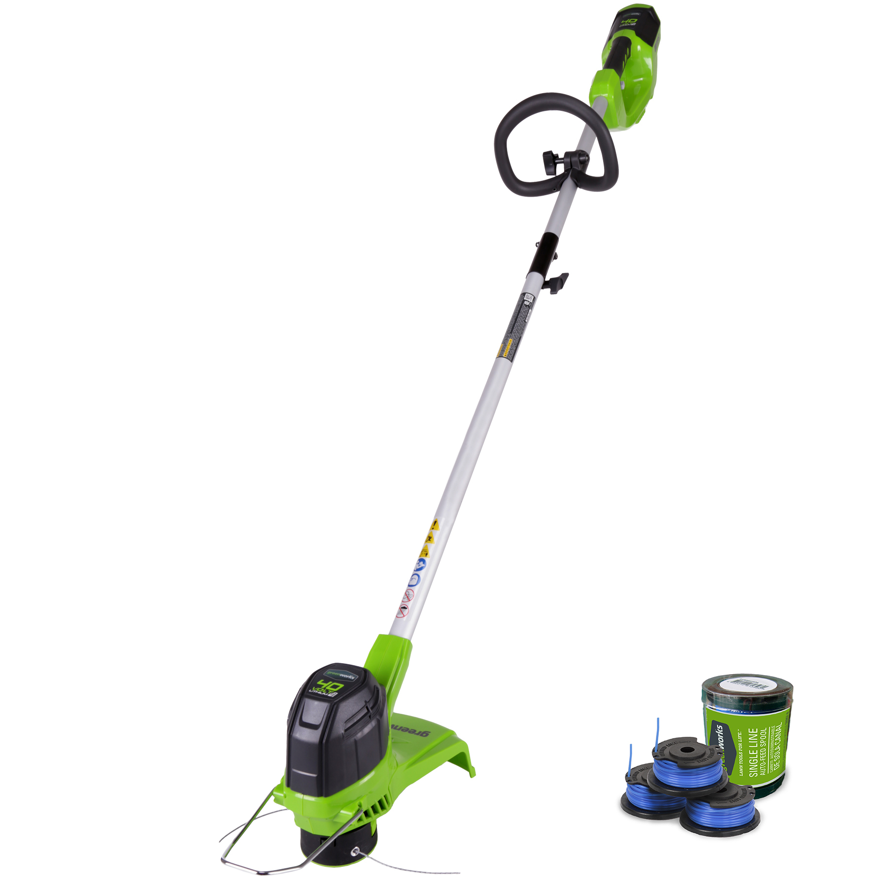 Greenworks 40 V String Trimmer, 2 Ah Battery & Charger Included + Replacement Spool And 3pk Single String Trimmer Line 2111302 by Green Works