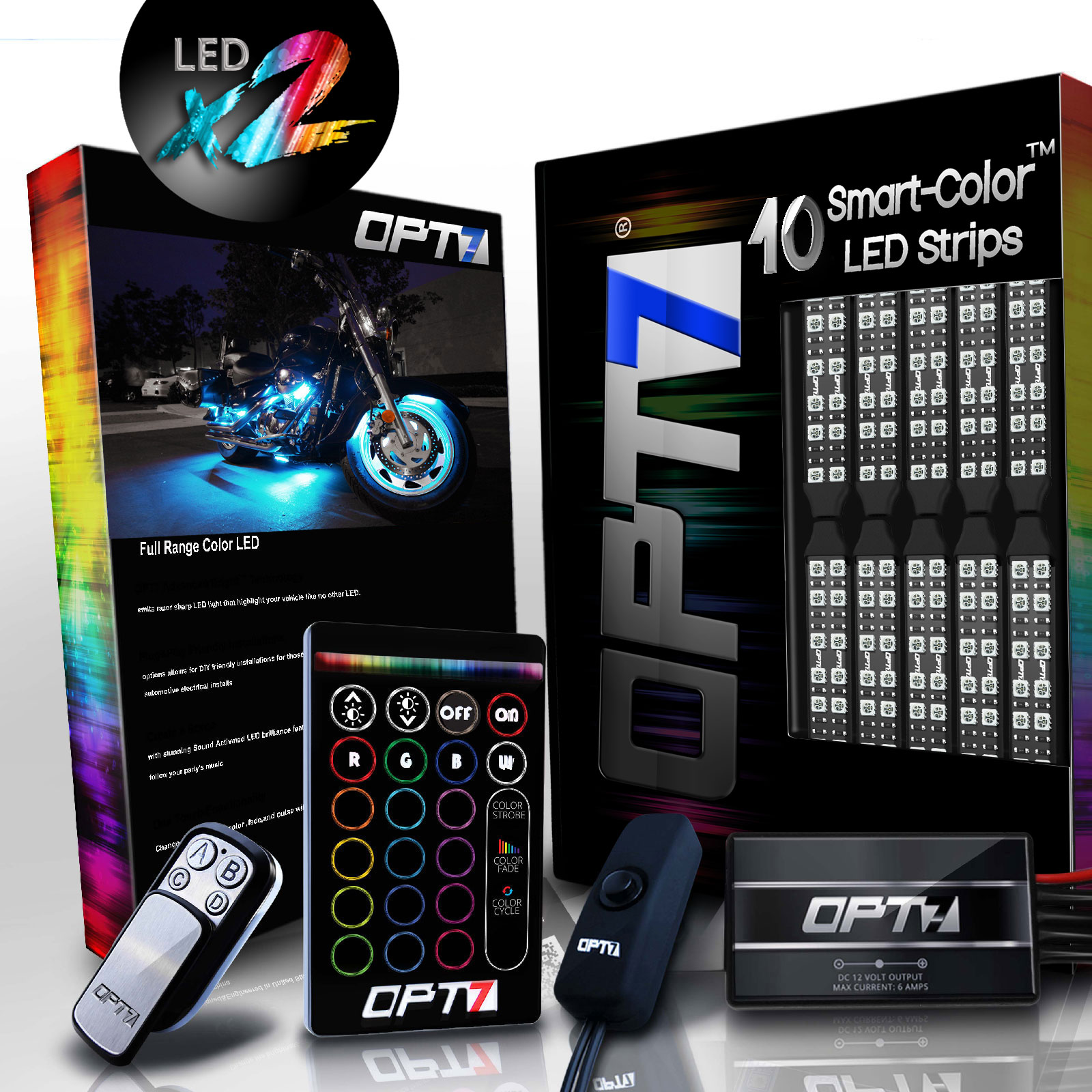 AURA® 10pc Double Row Motorcycle LED Strip Kit | Multi-Color Accent Lighting w/Wireless Switch for Cruisers