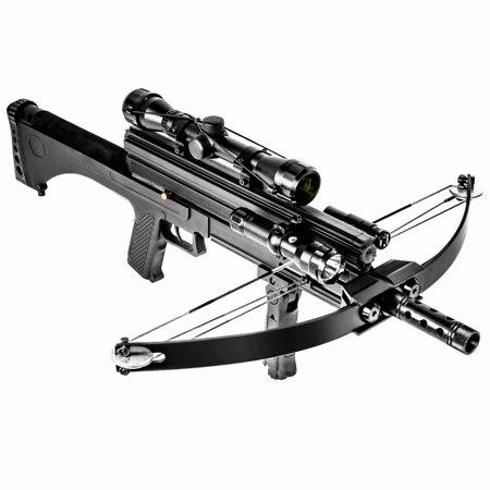 XtremepowerUS Multifunctional Crossbow 80 lbs 160 fps Hunting Equipment 200 Magazine Capacity, Black