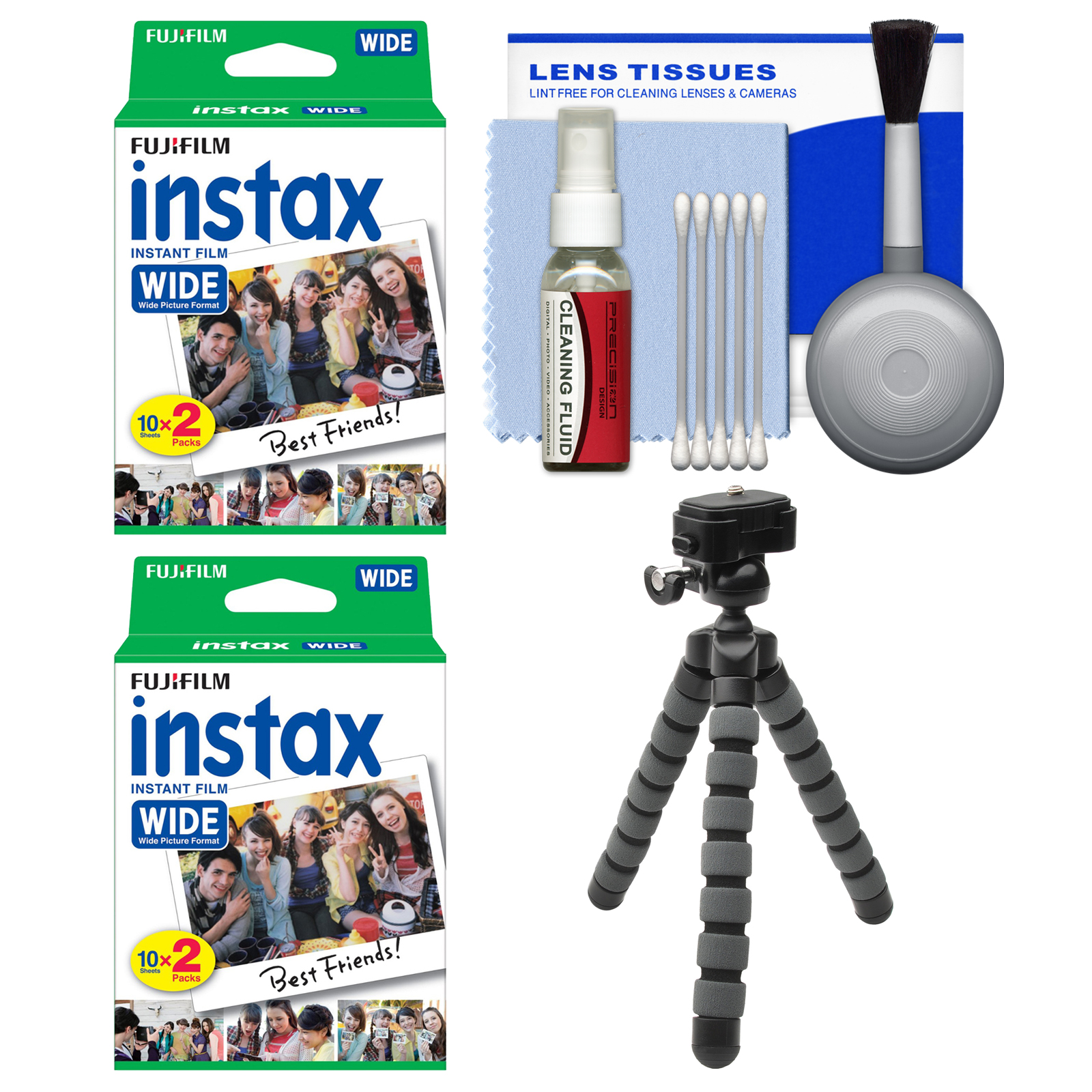 Essentials Bundle For Fujifilm Instax Wide 300 Instant Film Camera With 40 Prints Flex Tripod Cleaning Kit