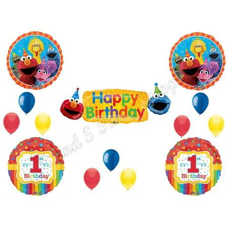 SESAME STREET BANNER 1st First Party Balloons Decoration Supplies Big Bird Elmo - Elmo Party Decorations