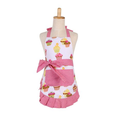 Novo Cotton Apron for Kid Girl with Pockets Adjustable Cooking Baking Garden Apron Cupcake Printing Pink Apron (Kid Girls Apron)