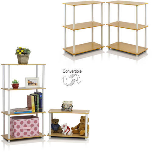 Furinno Turn-N-Tube 3-Tier Compact Multi-Purpose Shelf Display Rack, Set of 2, Multiple Colors