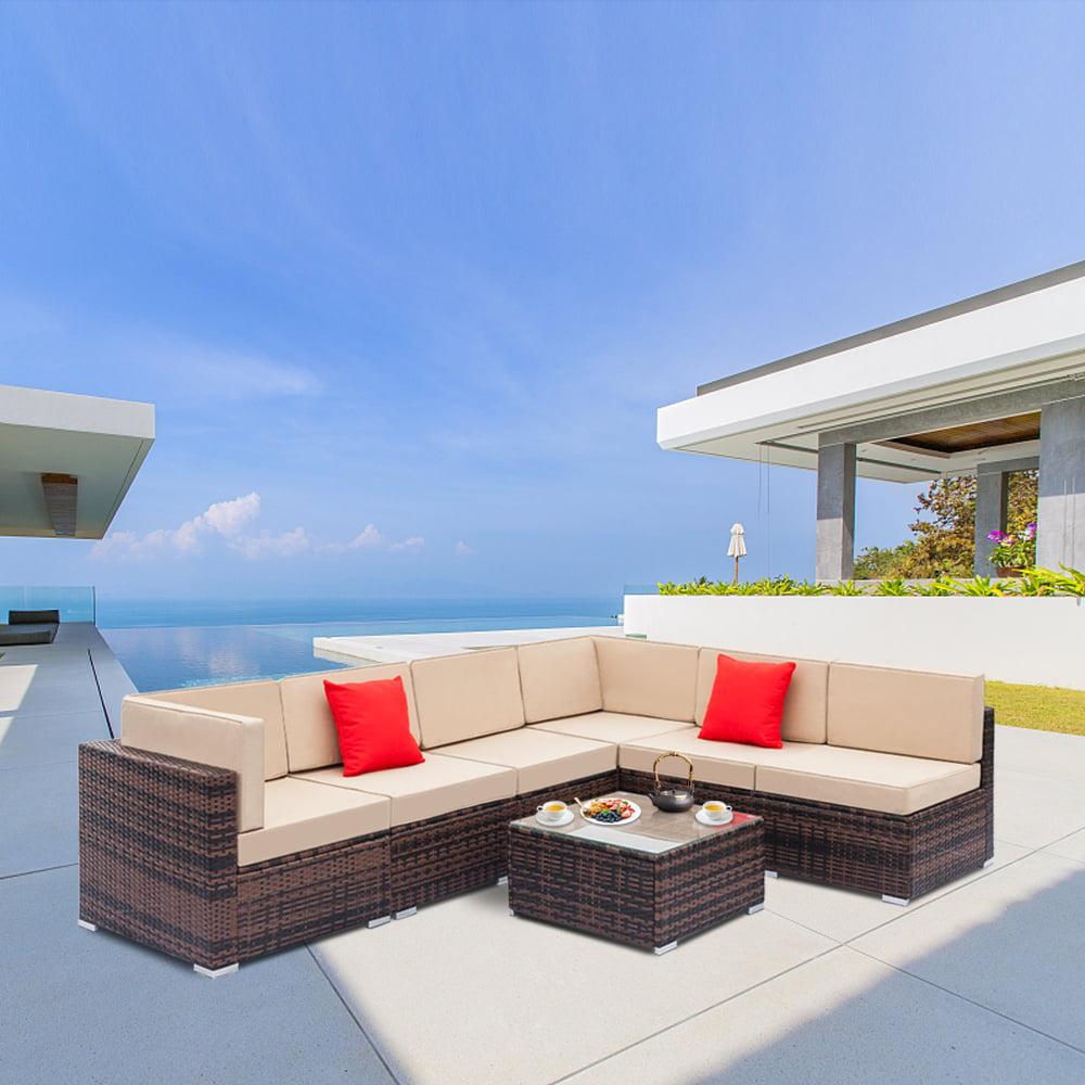 extraordinary outdoor wicker patio furniture sets | Patio Furniture Sets Clearance, 7-Piece Conversation Set w ...