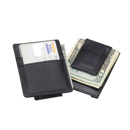 Black Classic 3 Slots Leather Money Clip, • Made of full grain leather • This unique, sleek wallet has 3 slots for credit cards and an additional slot in the center • A cleaver magnetic clip on