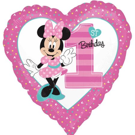 Minnie Mouse Heart Shape 1st Birthday Theme Foil / Mylar Balloon 18