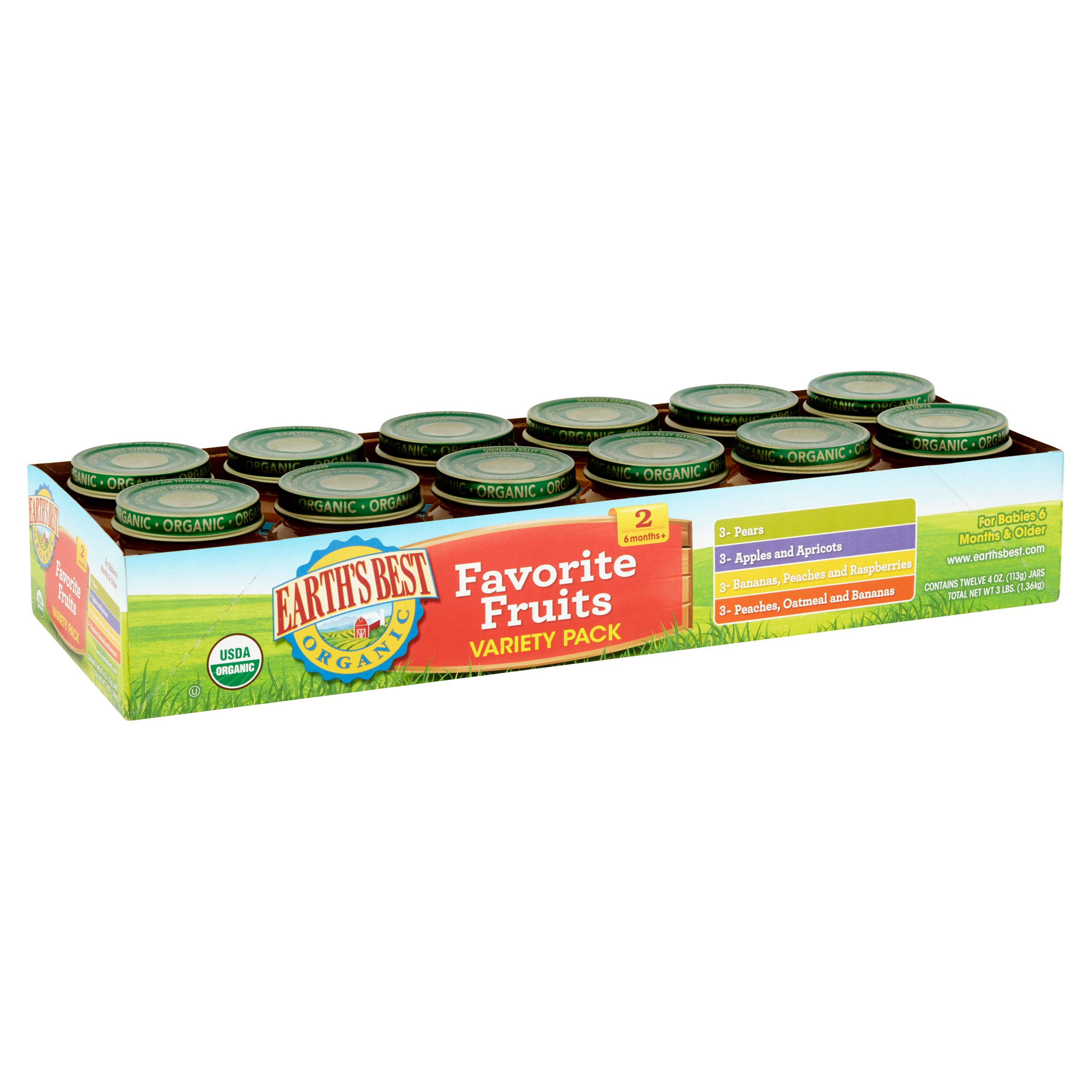 Earth's Best Organic Favorite Fruits Variety Pack, Stage 2, Baby Food, 4 oz, 12 pack