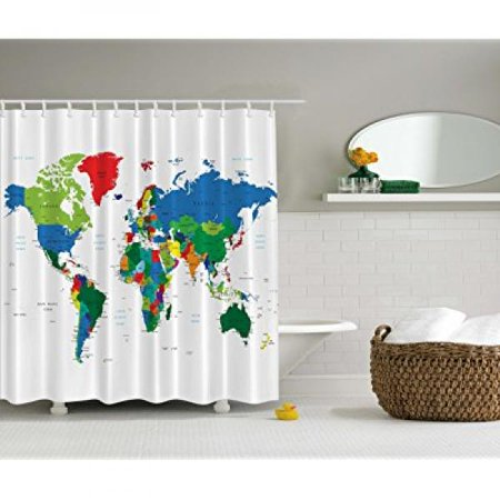 World map shower curtain by ambesonne geologist gifts educational world map shower curtain by ambesonne geologist gifts educational geographical earth journeys voyager novelty modern gumiabroncs Images