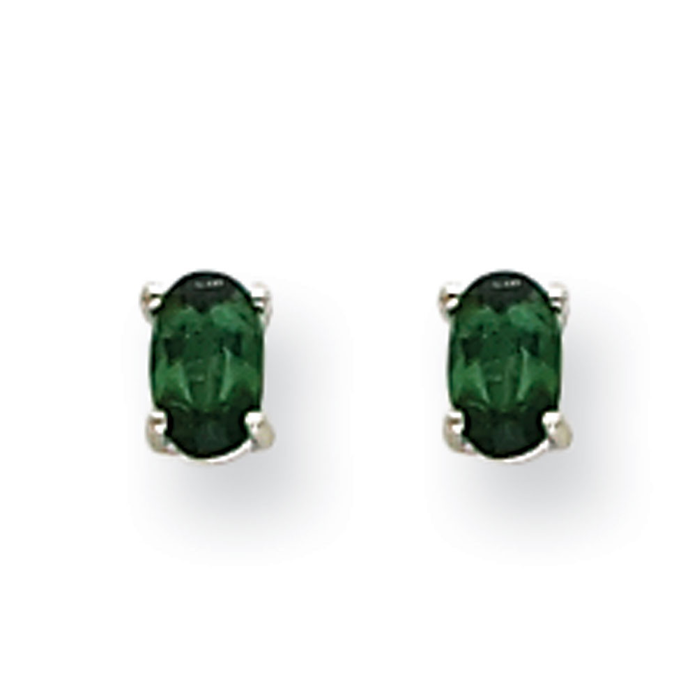 14k White Gold Post Earrings Green Tourmaline Earrings .44 cwt by Jewelryweb
